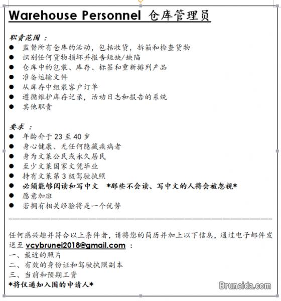 Picture of Vacancy (Chinese educated) - FOR BRUNEI CITIZEN AND P. R. ONLY