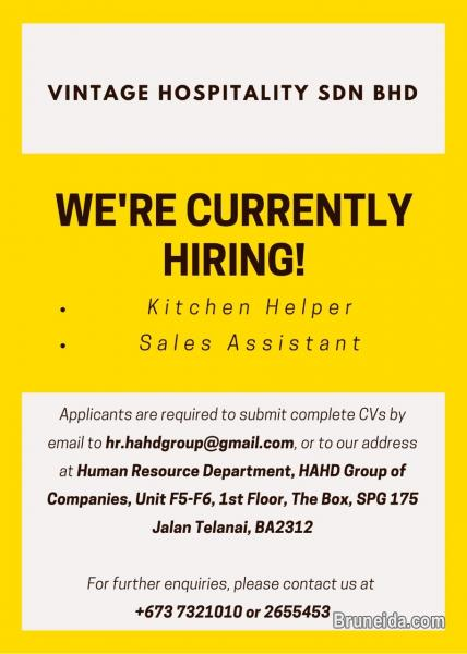 Picture of URGENT HIRING for Kitchen Helper / Sales Assistant