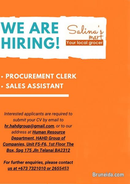 Picture of URGENT HIRING FOR PROCUREMENT CLERK / SALES ASSISTANT