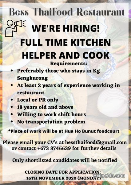 Picture of LOOKING FOR KITCHEN HELPER AND COOK