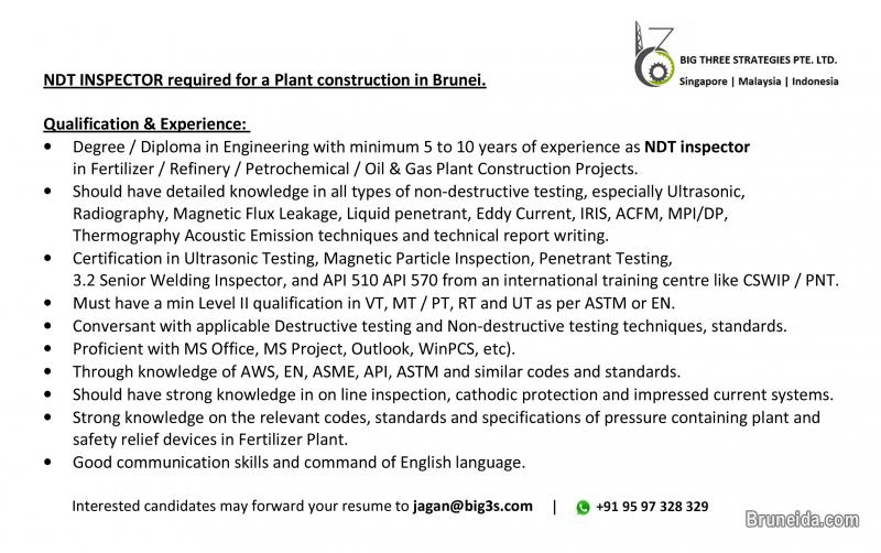 Picture of NDT Inspector required for a Fertilizer Plant constn. , in Brunei
