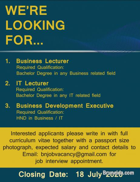 Pictures of Vacancy-Business Lect, IT Lect & Business Development Executive
