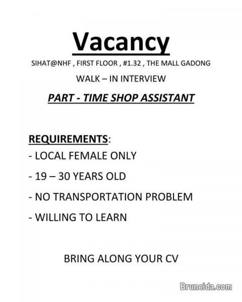 Vacancy: Shop Assistant