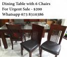 Dining Table with 6 chairs for Urgent Sale