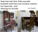 Study Desk with Chair and removable bookshelf. Solid Teak wood.