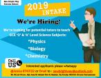 Tuition Tutors Job Vacancies for Intake 2019