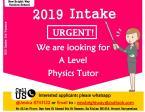 (Urgent) Physics Tutors Job Vacancies for Intake 2019