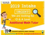 Tuition Tutors Job Vacancies for Intake 2019