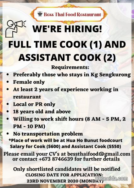 Picture of LOOKING FOR ASSISTANT COOK (2 PERSONS)